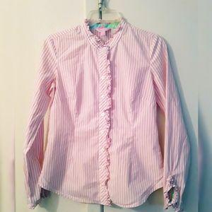 Lilly Pulitzer  Striped Ruffle Shirt